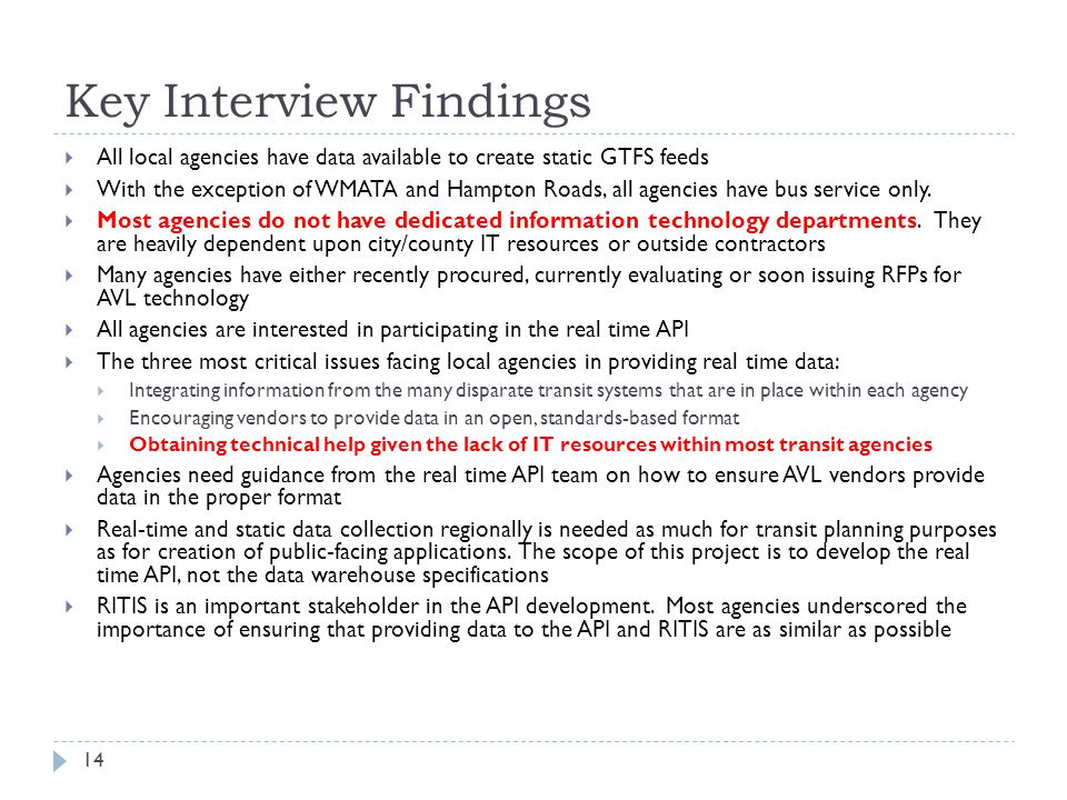 Key Interview Findings