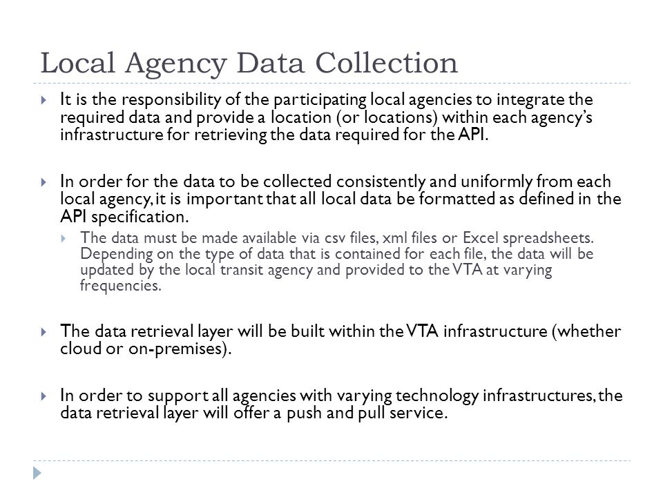 Local Agency Data Collection
