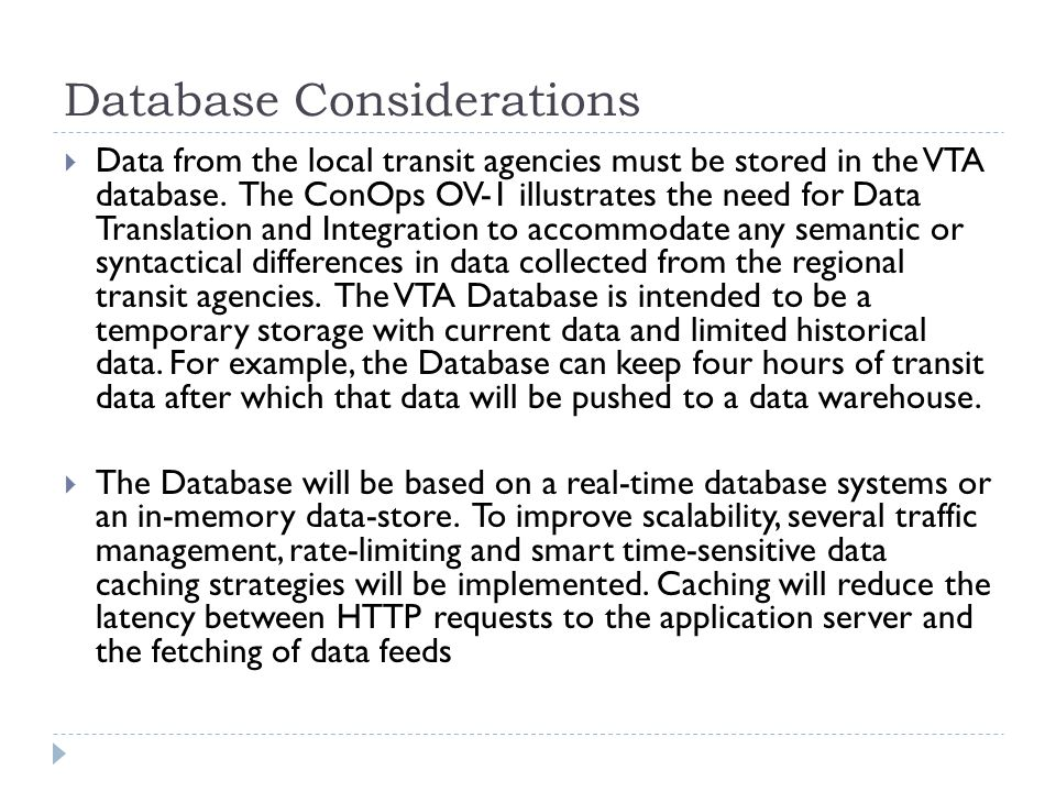 Database Considerations