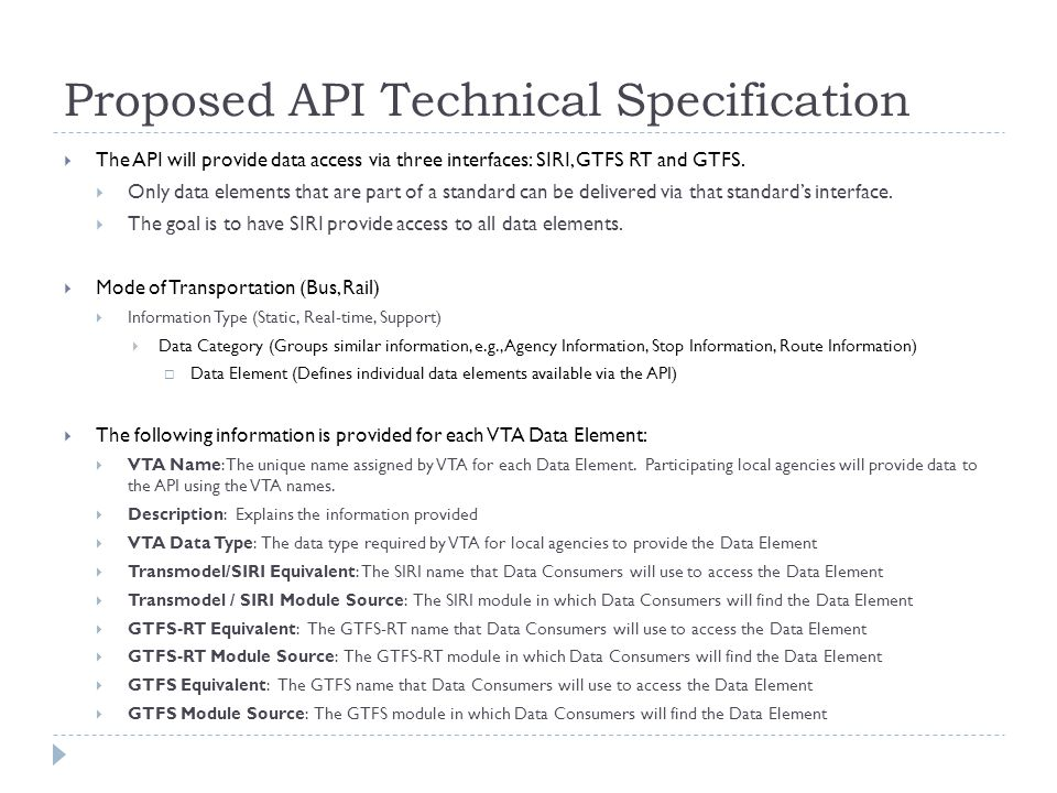 Proposed API Technical Specification