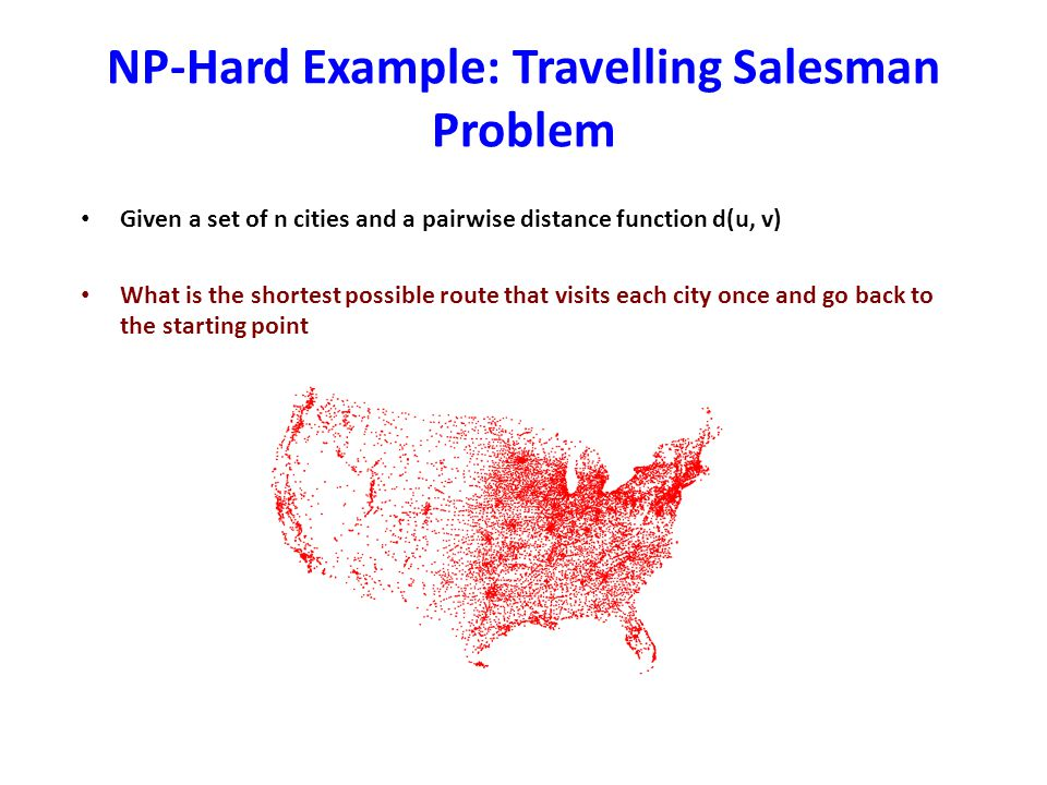NP-Hard Example: Travelling Salesman Problem