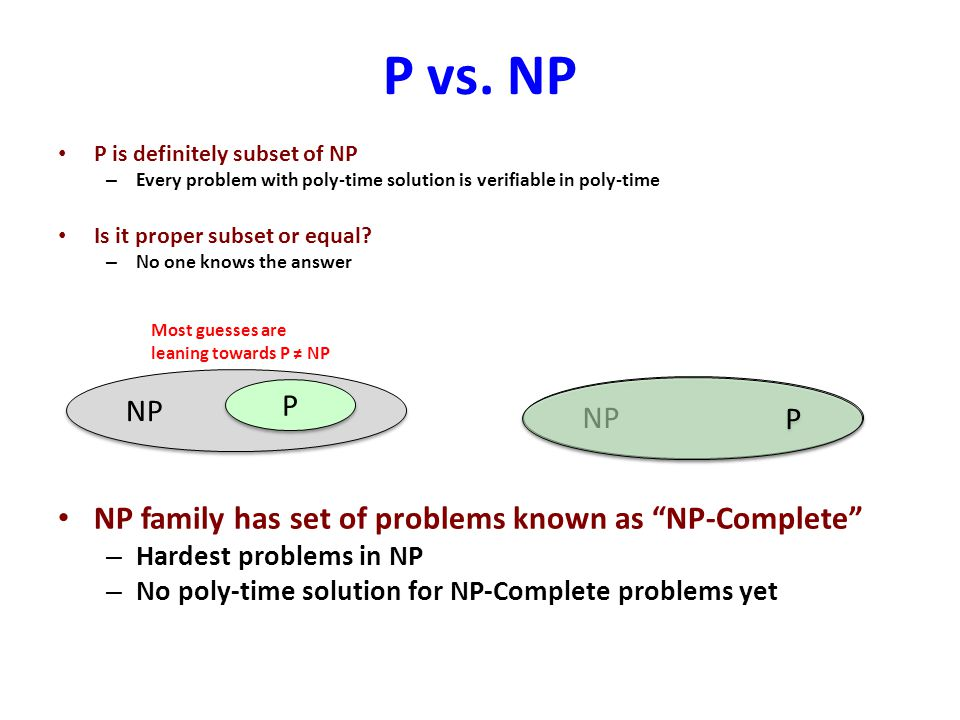 P vs. NP NP family has set of problems known as NP-Complete NP P