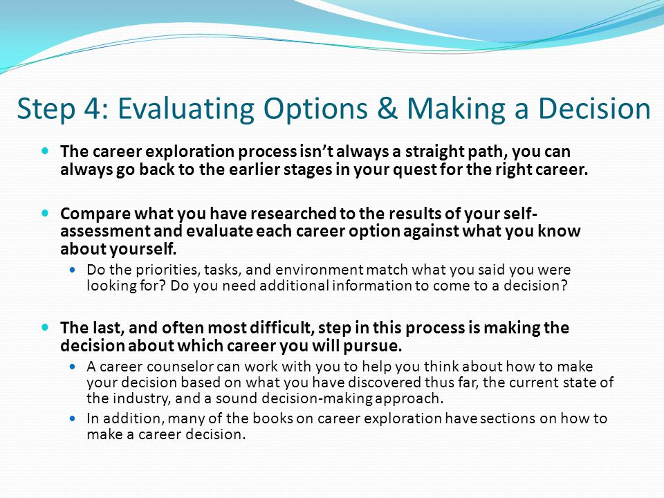 Step 4: Evaluating Options & Making a Decision