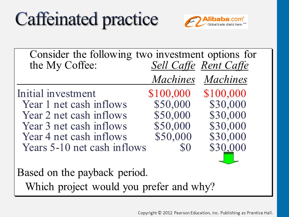 Caffeinated practice Consider the following two investment options for the My Coffee: Sell Caffe Rent Caffe.