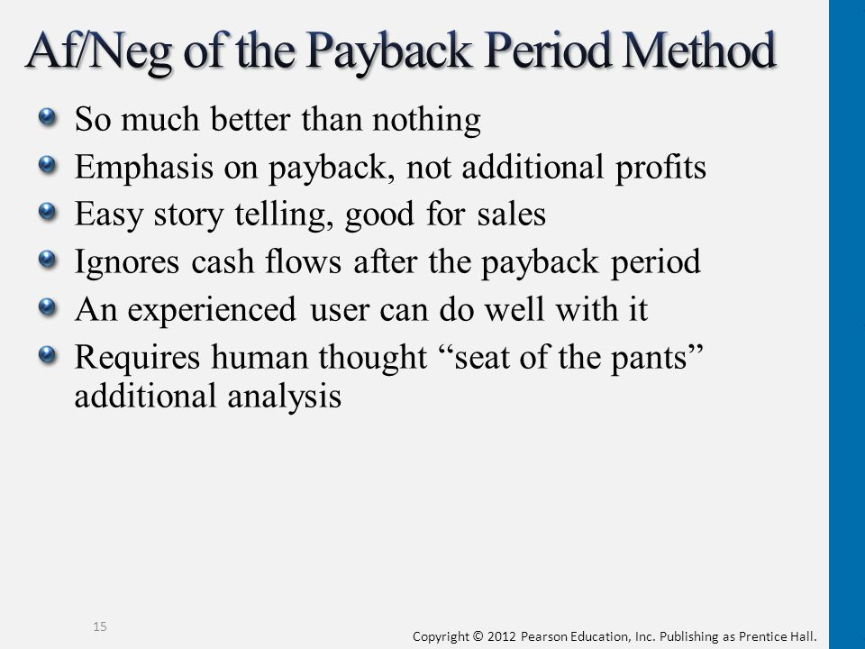 Af/Neg of the Payback Period Method