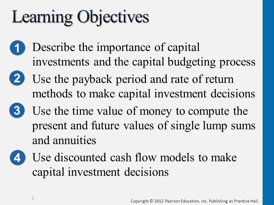 Learning Objectives Describe the importance of capital investments and the capital budgeting process.