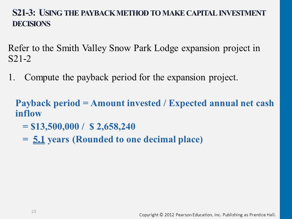 S21-3: Using the payback method to make capital investment decisions