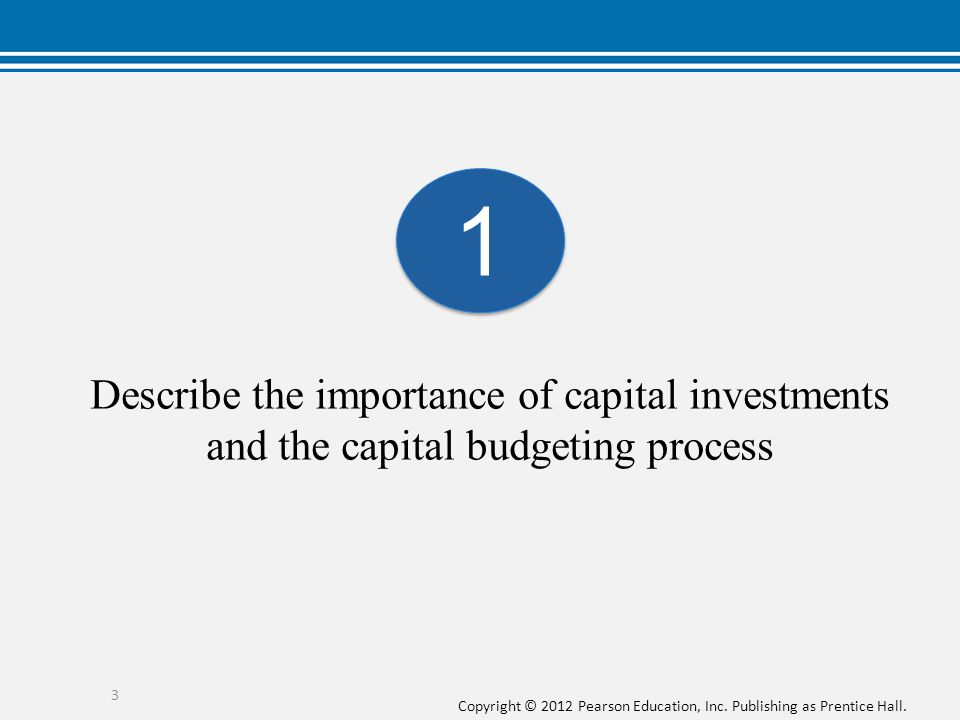 1 Describe the importance of capital investments and the capital budgeting process.