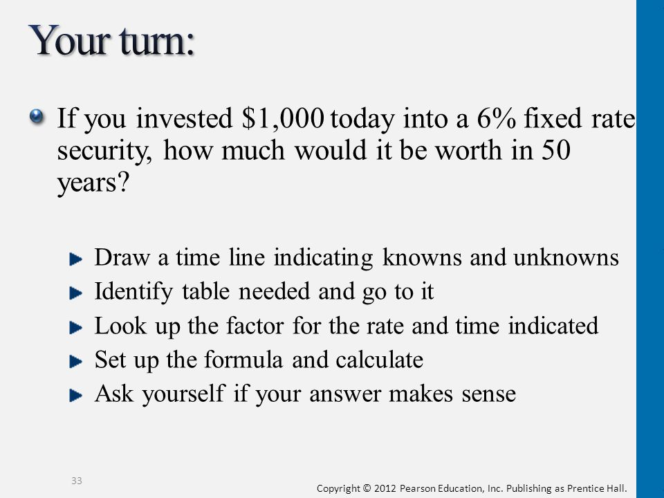 Your turn: If you invested $1,000 today into a 6% fixed rate security, how much would it be worth in 50 years