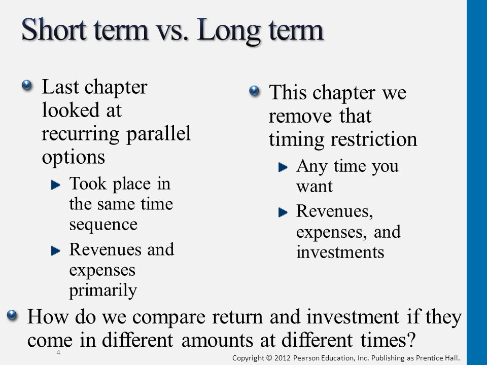 Short term vs. Long term Last chapter looked at recurring parallel options. Took place in the same time sequence.