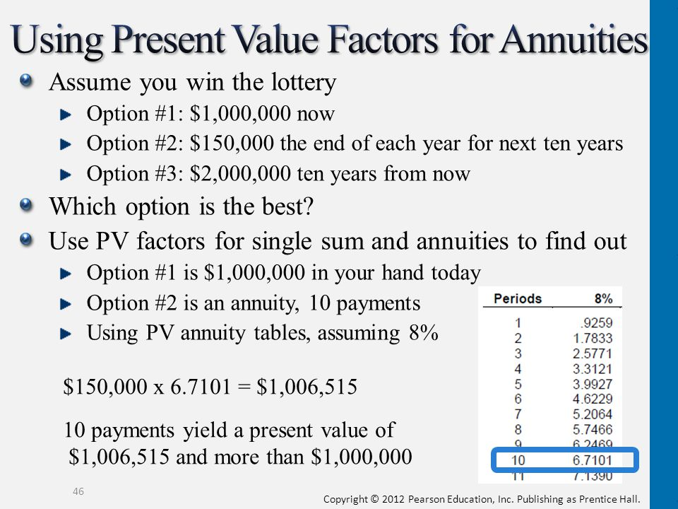 Using Present Value Factors for Annuities