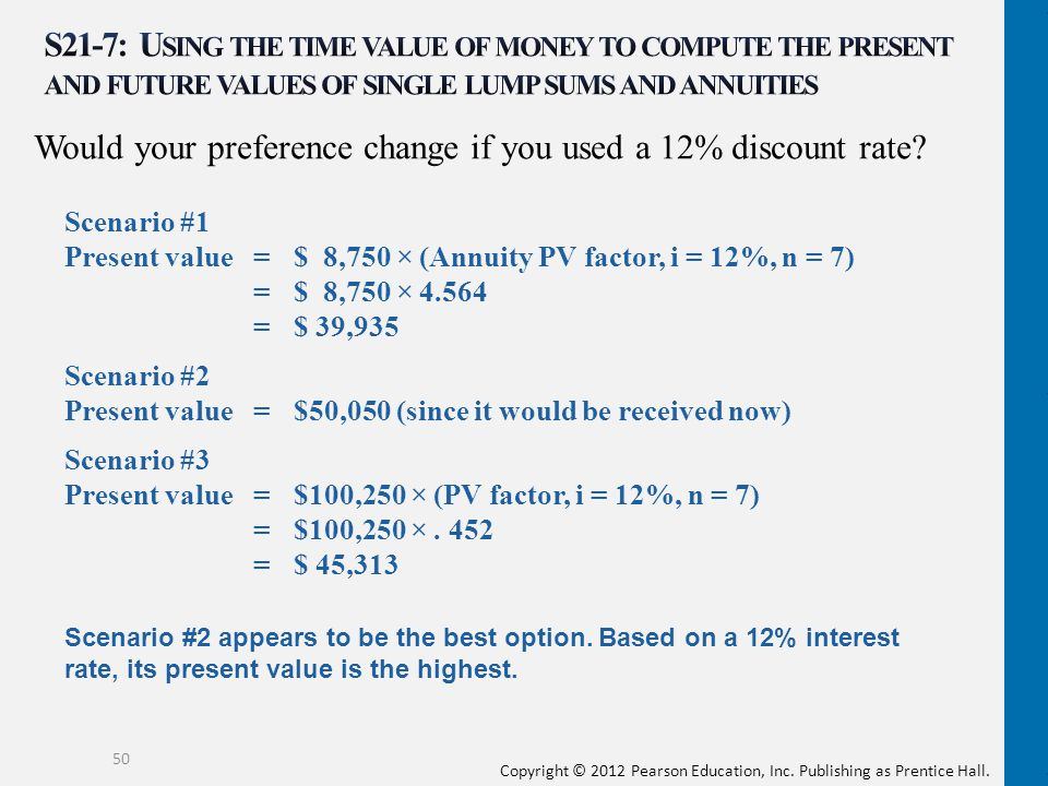 Would your preference change if you used a 12% discount rate