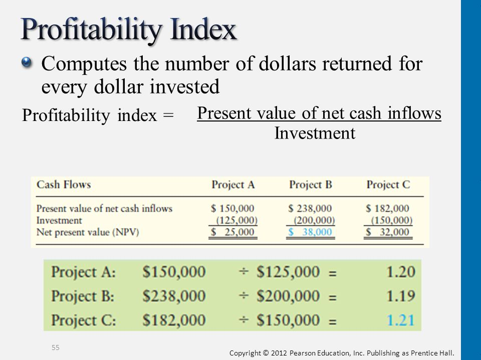 Profitability Index Computes the number of dollars returned for every dollar invested.