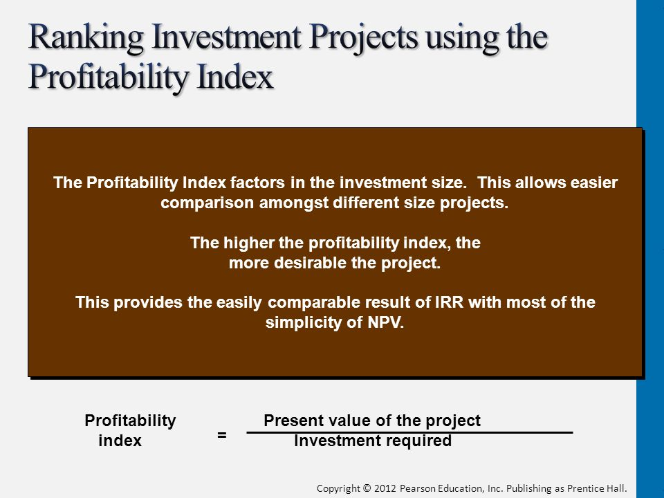Ranking Investment Projects using the Profitability Index