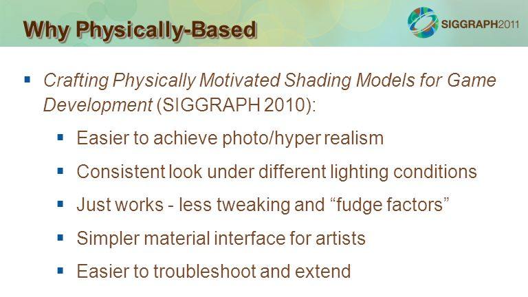 Why Physically-Based Crafting Physically Motivated Shading Models for Game Development (SIGGRAPH 2010):