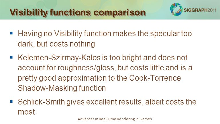Visibility functions comparison