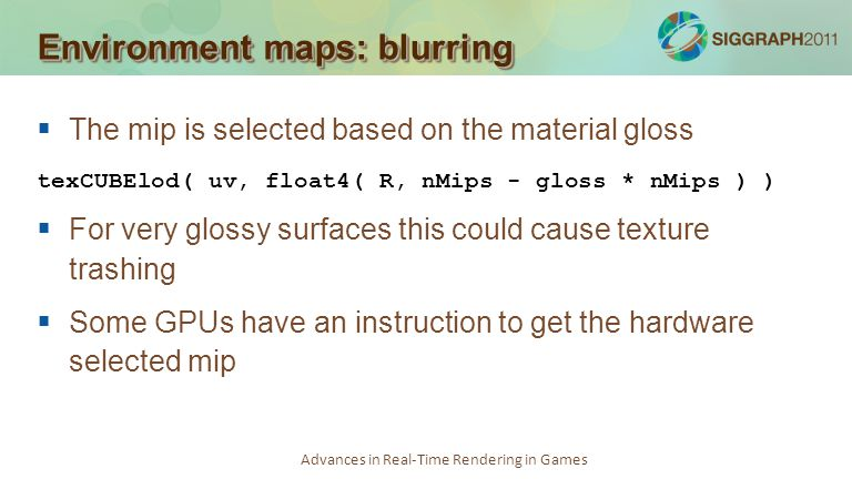 Environment maps: blurring