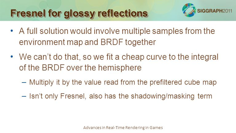 Fresnel for glossy reflections