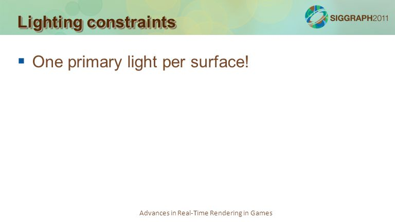 One primary light per surface!