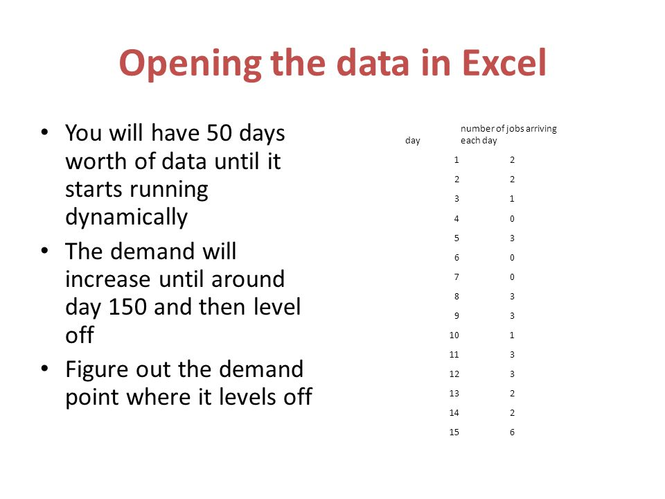 Opening the data in Excel