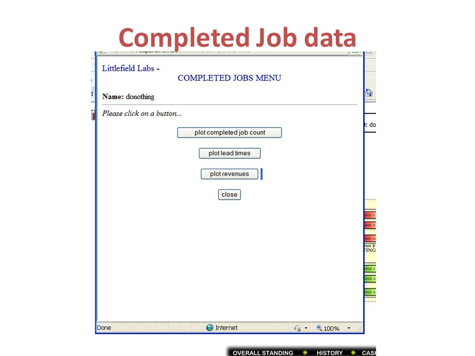 Completed Job data
