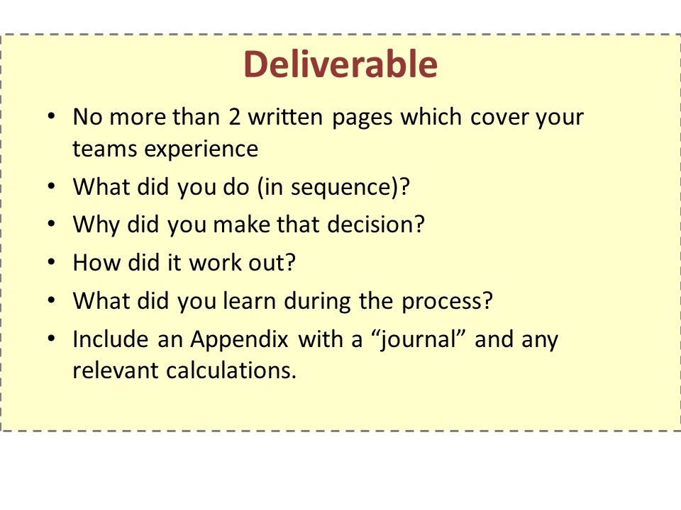 Deliverable No more than 2 written pages which cover your teams experience. What did you do (in sequence)