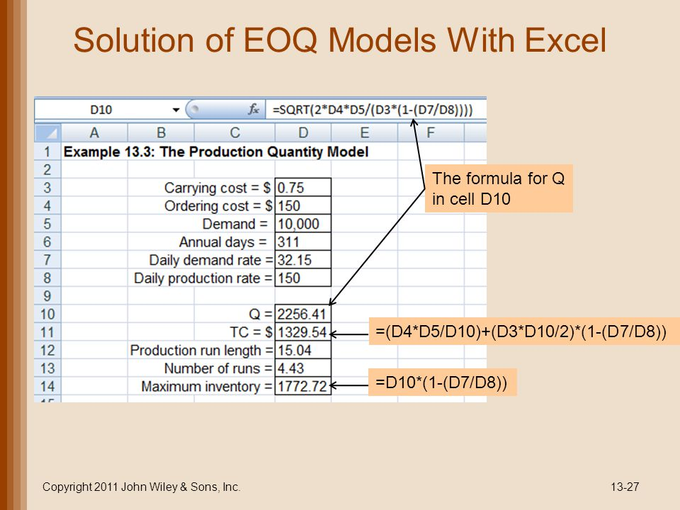 Solution of EOQ Models With Excel