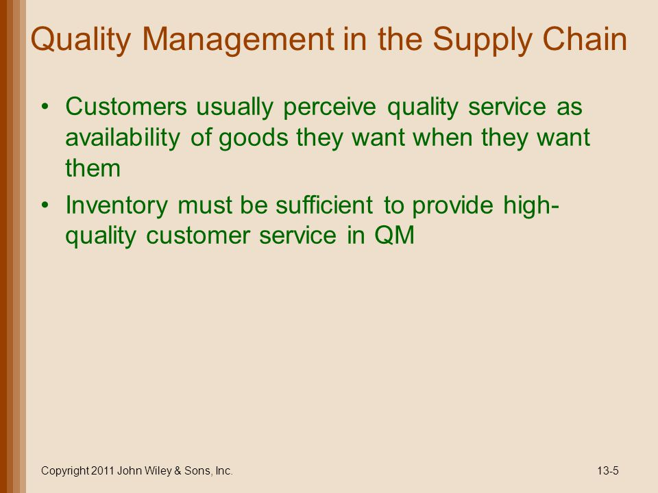 Quality Management in the Supply Chain