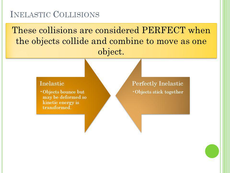 Inelastic Collisions These collisions are considered PERFECT when the objects collide and combine to move as one object.