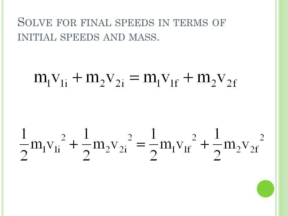 Solve for final speeds in terms of initial speeds and mass.