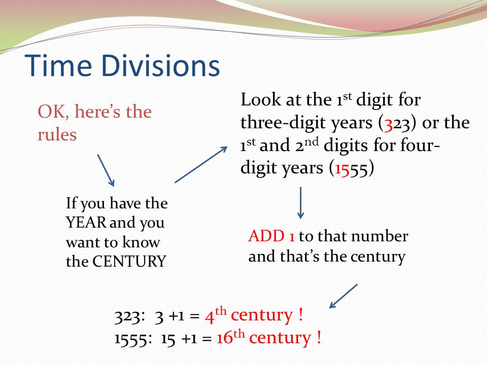Time Divisions Look at the 1st digit for three-digit years (323) or the 1st and 2nd digits for four-digit years (1555)