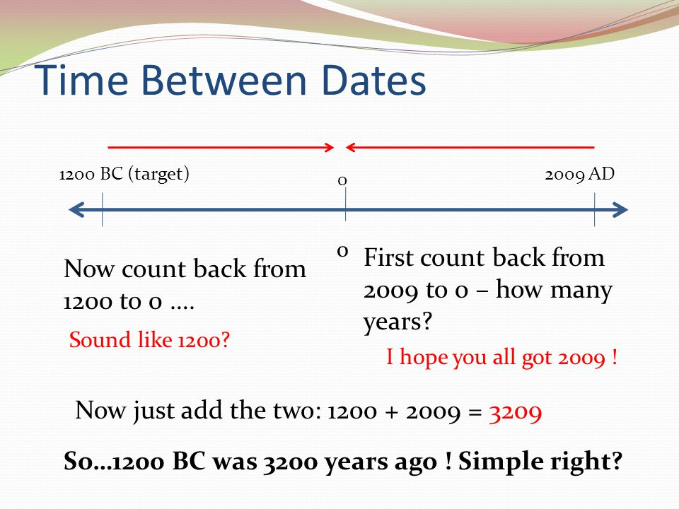 Time Between Dates First count back from 2009 to 0 – how many years