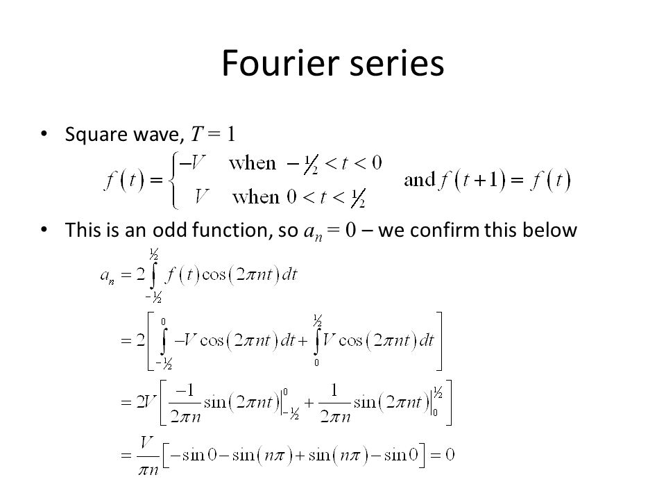 Fourier series Square wave, T = 1