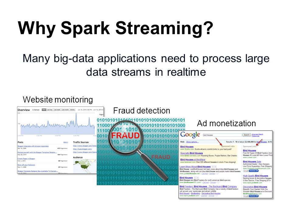 Why Spark Streaming Many big-data applications need to process large data streams in realtime. Website monitoring.