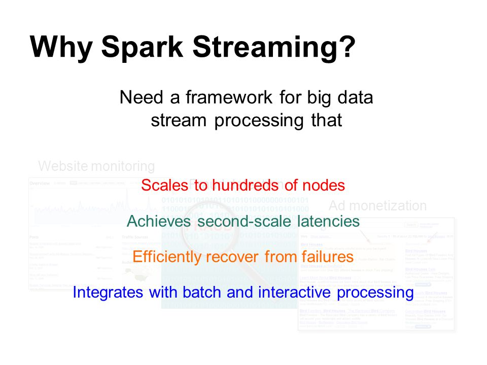 Why Spark Streaming Need a framework for big data stream processing that Website monitoring. Scales to hundreds of nodes.