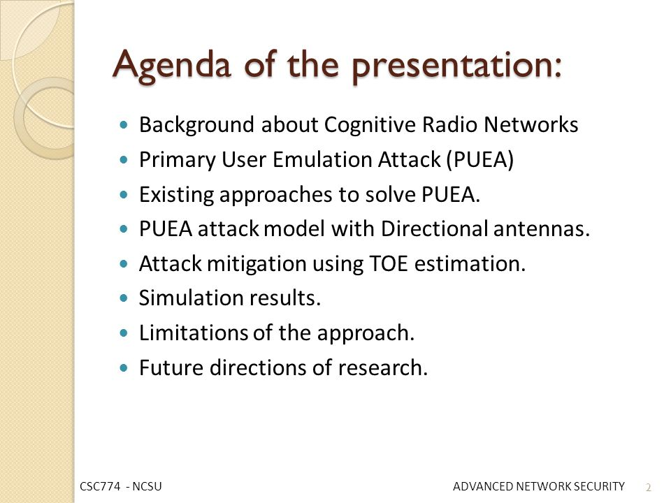 Agenda of the presentation: