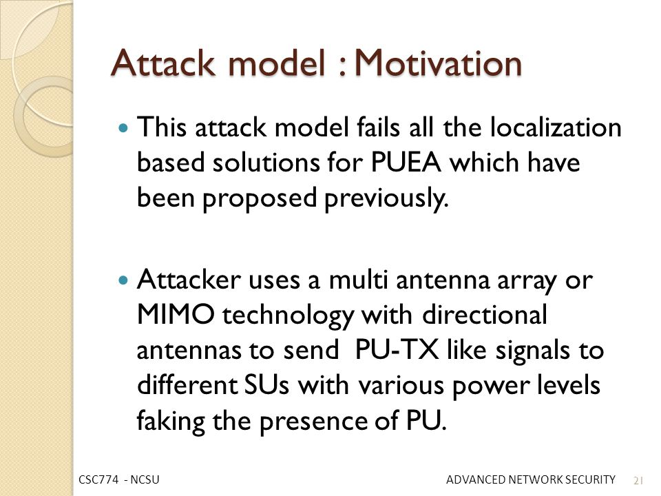 Attack model : Motivation