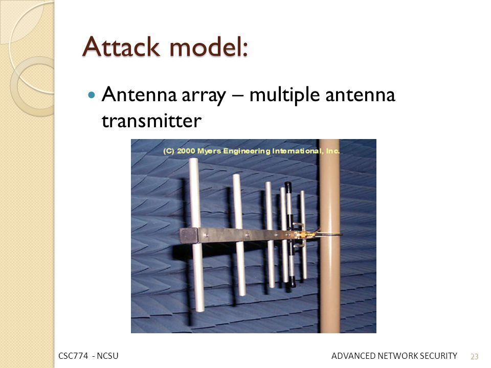 Attack model: Antenna array – multiple antenna transmitter
