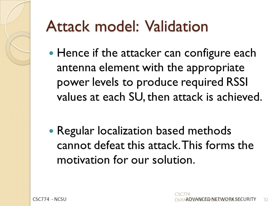 Attack model: Validation