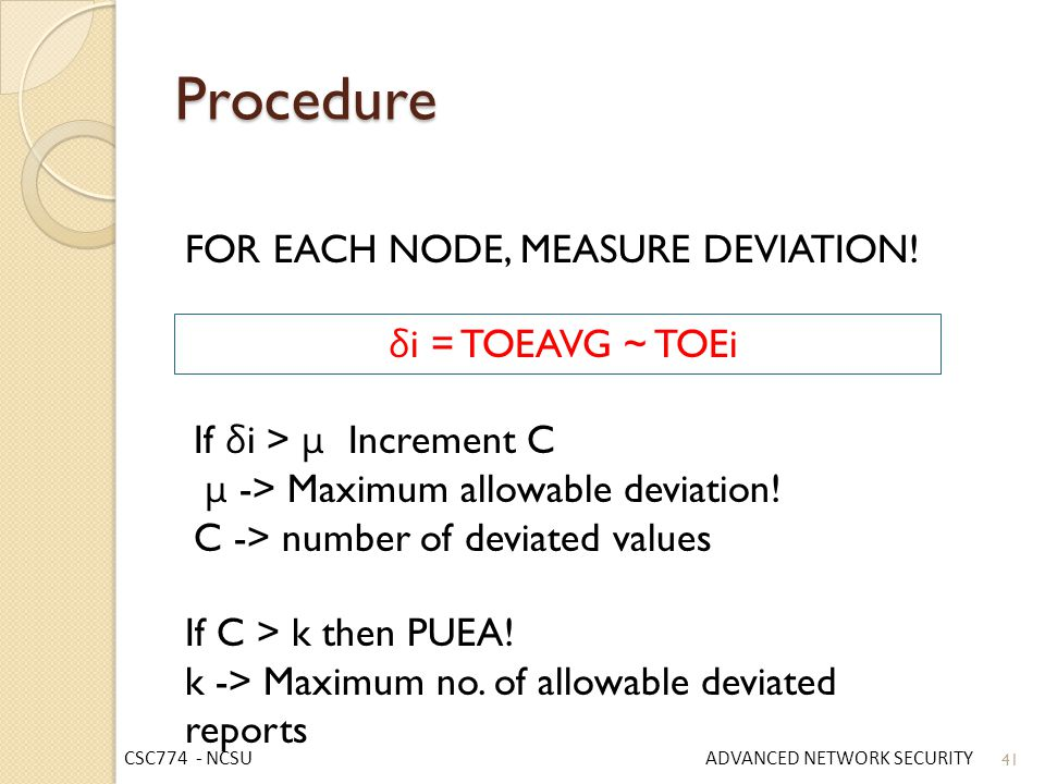 Procedure FOR EACH NODE, MEASURE DEVIATION! δi = TOEAVG ~ TOEi
