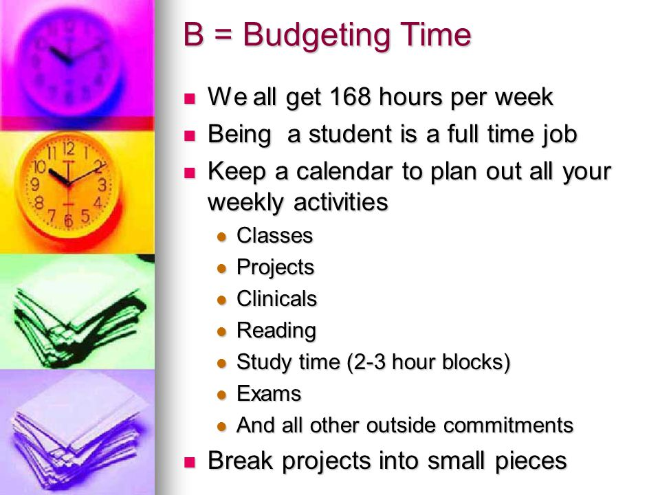 B = Budgeting Time We all get 168 hours per week
