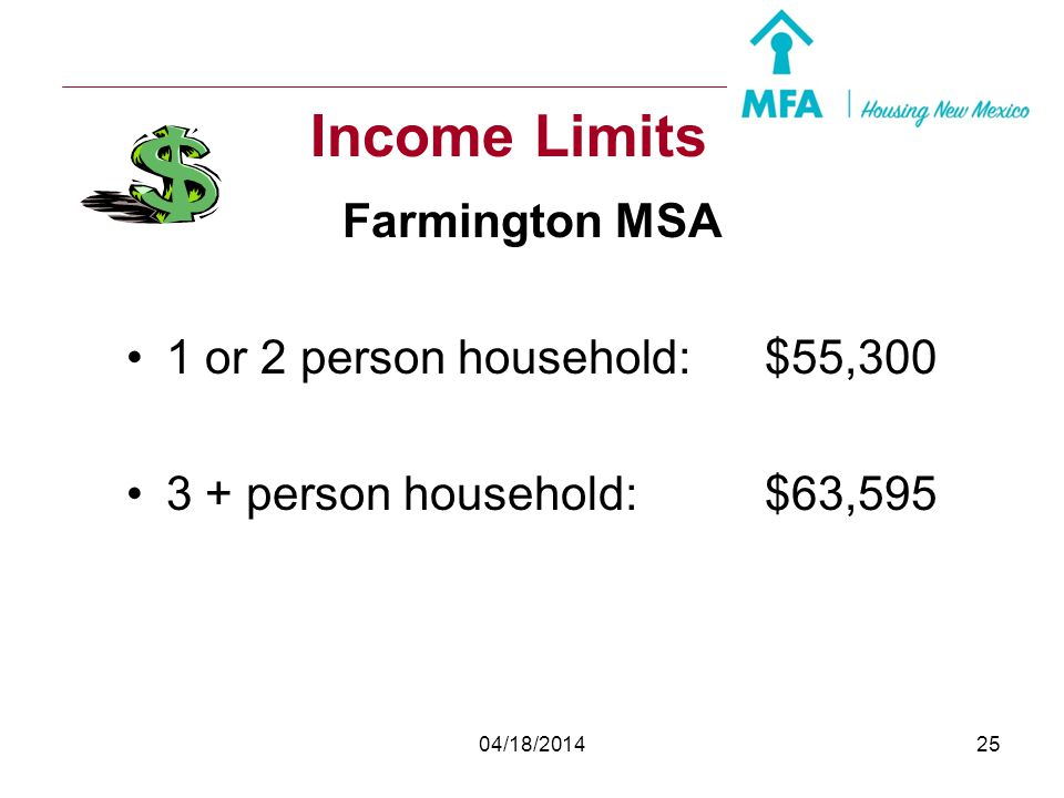 Income Limits Farmington MSA 1 or 2 person household: $55,300