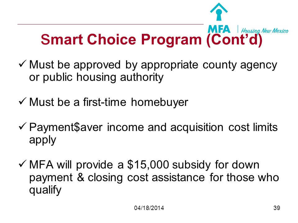 smart Choice Program (Cont'd)
