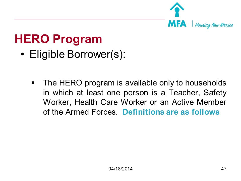 HERO Program Eligible Borrower(s):