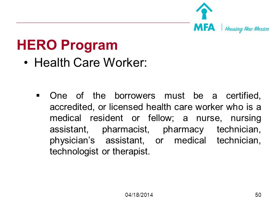 HERO Program Health Care Worker: