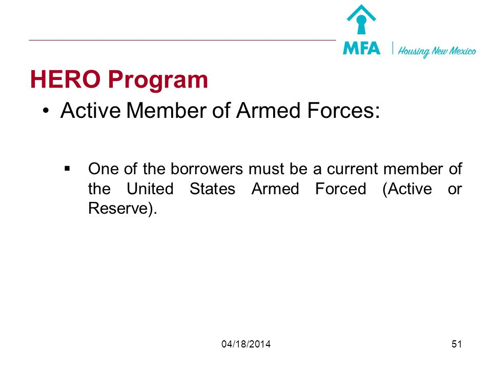 HERO Program Active Member of Armed Forces: