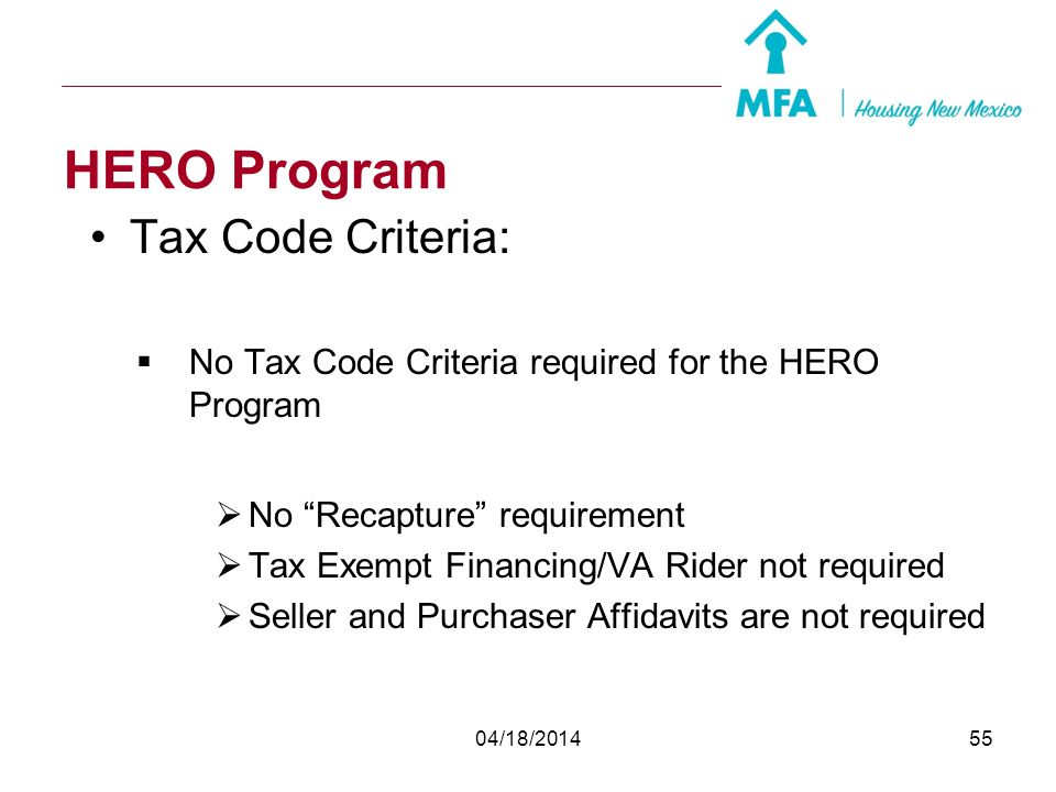 HERO Program Tax Code Criteria: