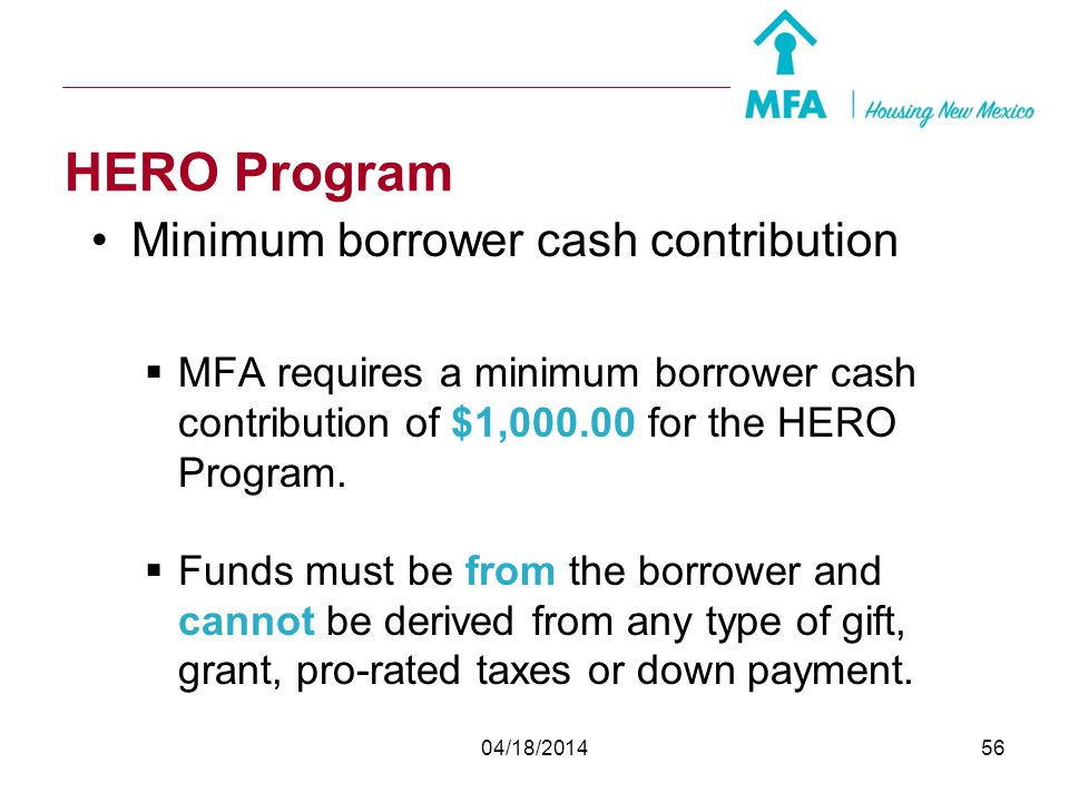 HERO Program Minimum borrower cash contribution