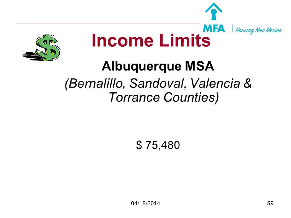 (Bernalillo, Sandoval, Valencia & Torrance Counties)
