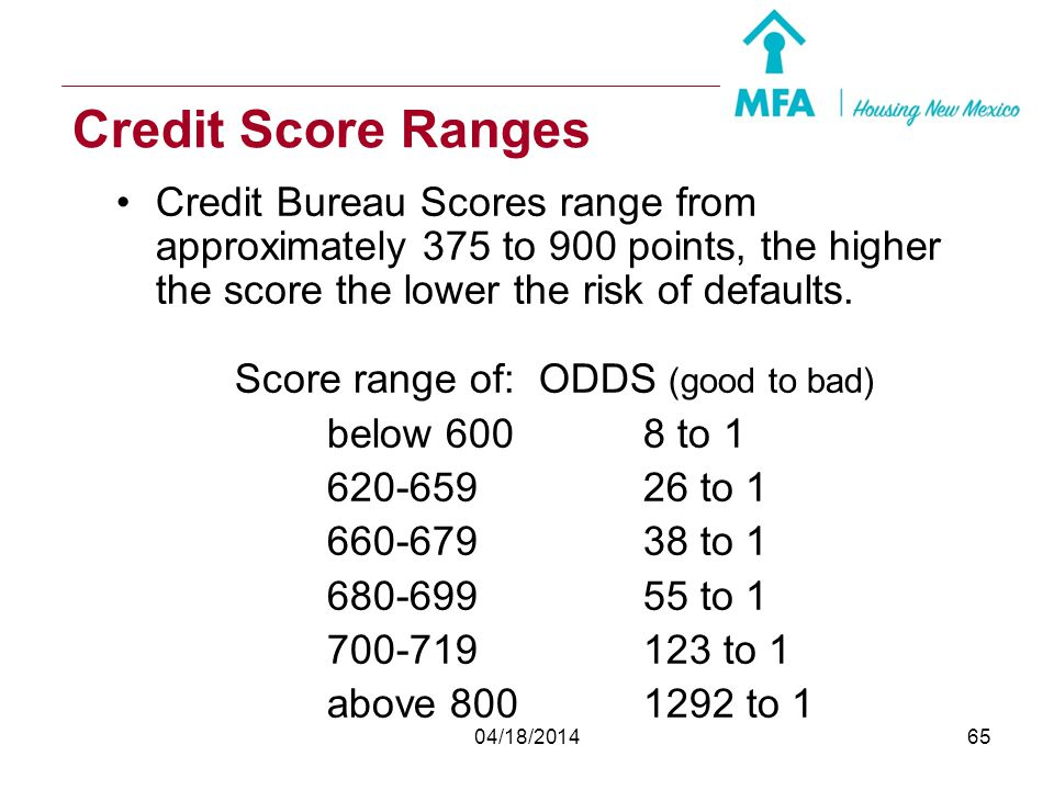 Credit Score Ranges Credit Bureau Scores range from approximately 375 to 900 points, the higher the score the lower the risk of defaults.
